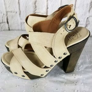 Lucky Brand tan studded platforms